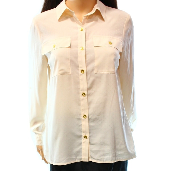 091b5edb9 Shop Jones New York NEW Beige Women's Size 8P Petite Button Down Shirt -  Free Shipping On Orders Over $45 - Overstock - 17858298