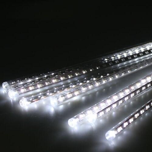 AGPtek 8pcs 50cm Tube Colorful Meteor Shower Rain Lights Snowfall Light for Wedding Party Christmas Decor cool White