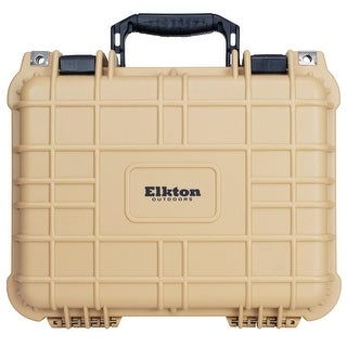 Elkton Outdoors Hard Gun Case: Fully Customizable: Holds 3 Handguns and 6 Magazines: Crush Resistant & Waterproof (Tan)