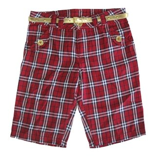 Disney Girls Red Plaid Jonas Brothers Style Gold Belted Shorts 8-16