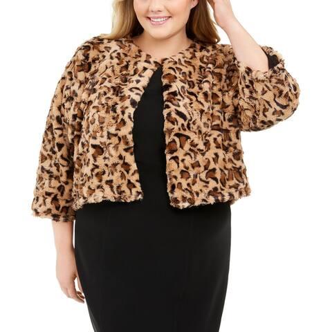 Calvin Klein Women's Plus Size Printed Faux-Fur Shrug Yellow Size 1X