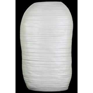 Ceramic Tall Irregular Vase With Combed Design, Large, White