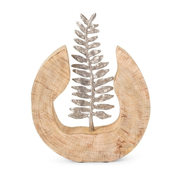 """13.25"""" Tan and Silver Wooden Fern Indoor Statuary - N/A"""