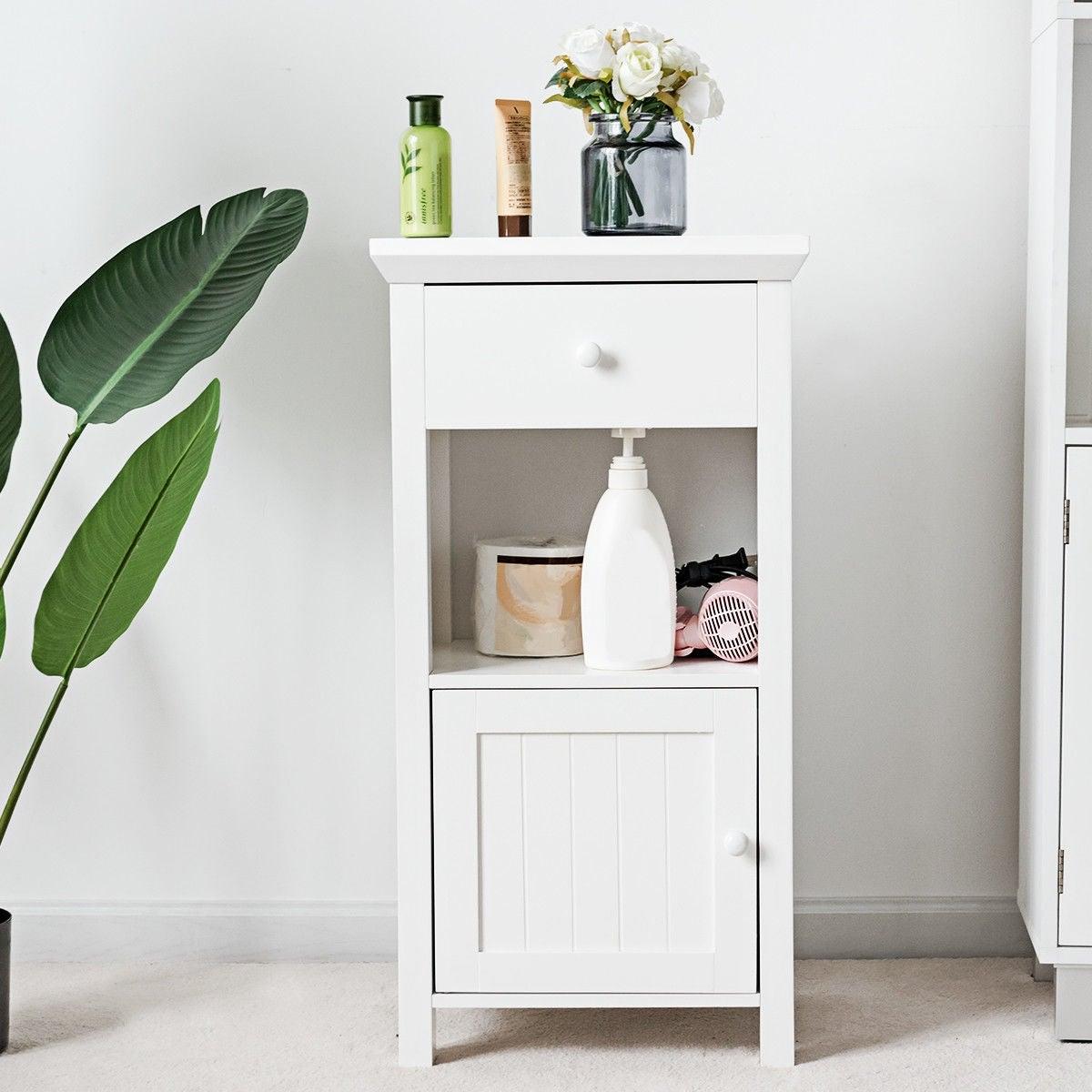 Gymax Bathroom Floor Storage Cabinet Cupboard Organizer Storage Drawer Overstock 24206920