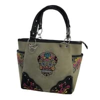 Colorful Sugar Skull Embroidered Trim Oversize Concealed Carry Purse