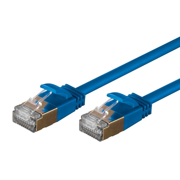 SlimRun Cat6A Ethernet Patch Cable RJ45 Stranded STP Copper Wire 36AWG 10ft Blue