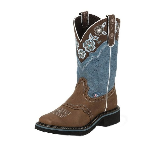 Justin Western Boots Womens Cowboy Starlina Blue Aged Bark Blue L9950