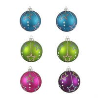 "6ct Colorful Matte Stars Shatterproof Christmas Ball Ornaments 3.25"" (80mm) - multi"