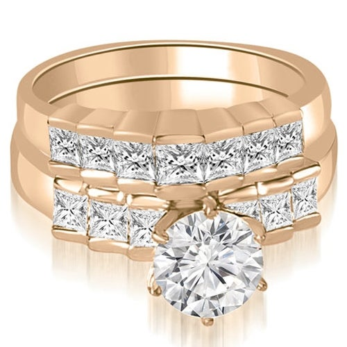 1.85 cttw. 14K Rose Gold Princess and Round Cut Diamond Bridal Set