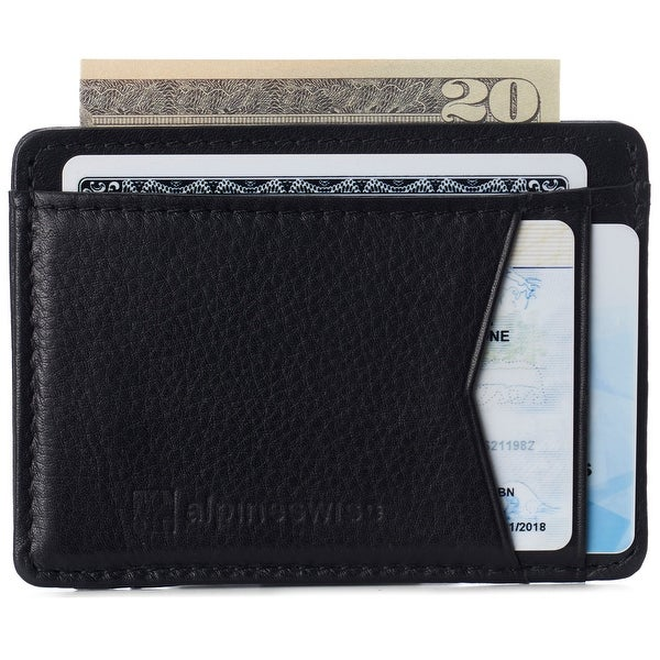 Alpine Swiss RFID Minimalist Oliver Front Pocket Wallet For Men Leather Comes in a Gift Box - One Size. Opens flyout.