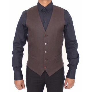 Dolce & Gabbana Dolce & Gabbana Brown Cotton Flax Formal Dress Vest Gilet