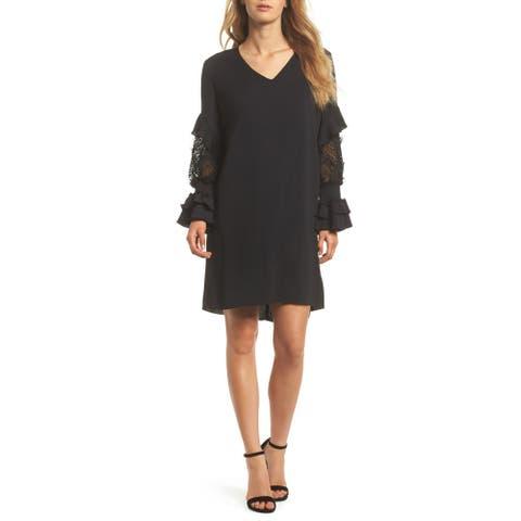 Kobi Halperin Alda Lace Sleeve Shift Dress, Black, X-Small