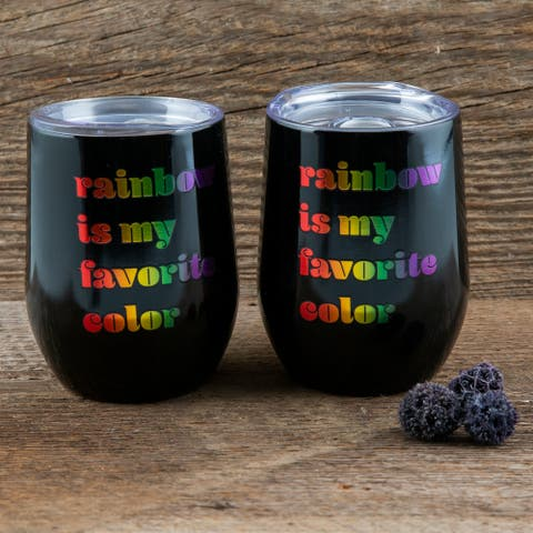 """Cambridge Silversmiths Black Wine Tumblers with Metallic """"Rainbow is My Favorite Color"""" Decal Set of 2, 12 ounce - 12 ounce"""