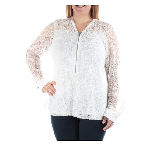 CALVIN KLEIN Womens White Cuffed Zip Neck Blouse Top Size XL