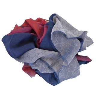"Gucci 421078 Lightweight Cotton Wool Silk Colorblock GG Guccissima Scarf - 70"" x 23"""
