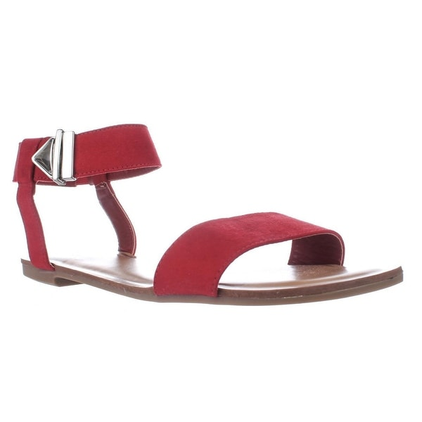 B35 Victor Ankle Strap Flat Sandals, Bar Red - 10 us