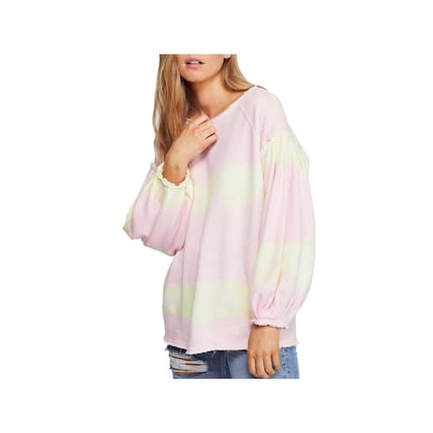 Free People Womens Feels Right Pullover Top Cotton Colorblock - Tulip