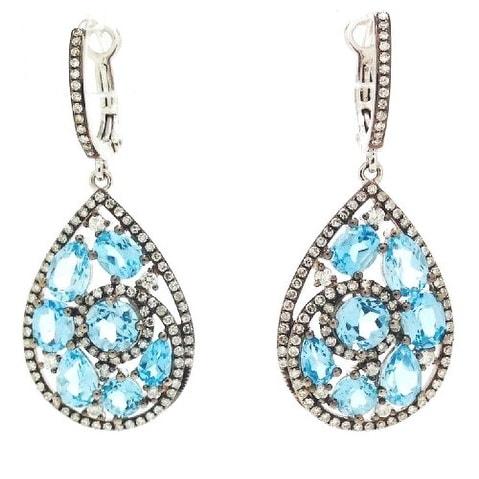 14K BLUE TOPAZ TEARDROP EARRINGS WITH DIAMONDS - White