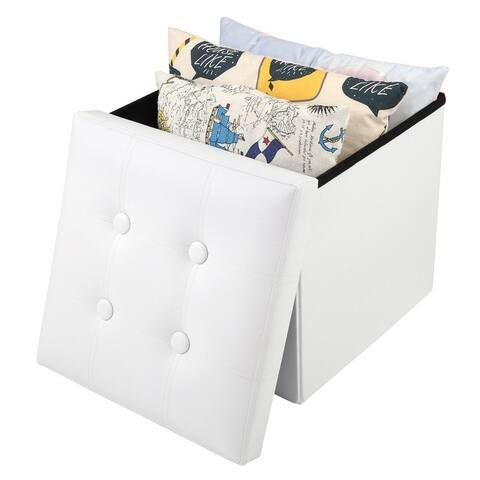 PU Leather Footstool with Leather Buckle White