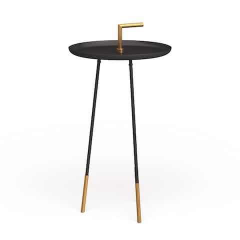 "Safavieh Delia Handle Side Table - Black / Gold - 15.7"" x 15.7"" x 28"""
