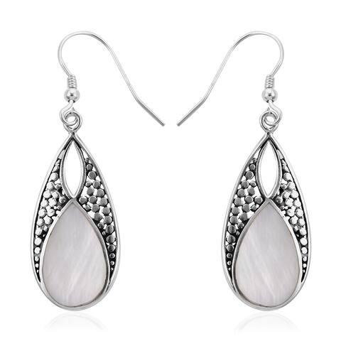 925 Sterling Silver Motof Pearl Dangle Earrings