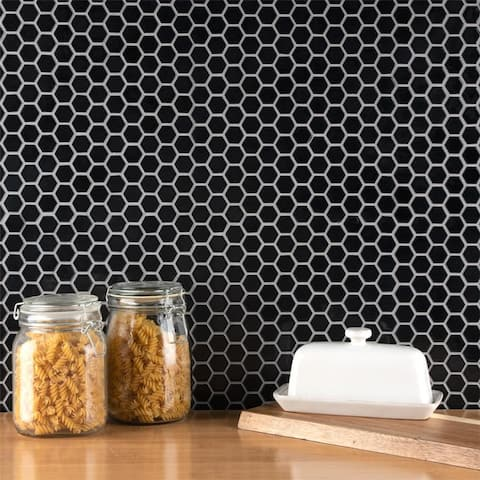 SomerTile 10.25x11.88-Inch Victorian Hex Glossy Black Porcelain Mosaic Floor and Wall Tile