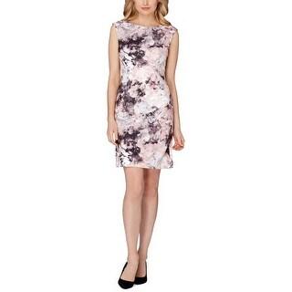 Tahari ASL Floral Print Sleeveless Scuba Sheath Dress - 12