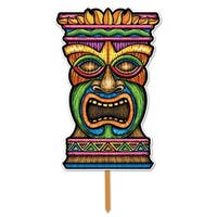 "Pack of 6 Tropical Luau Themed 3-D Plastic Tiki Yard Sign Decorations 17.5"" - Multi"