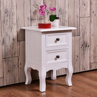 Costway White Curved Legs Accent Side End Table Nigh stand Furniture Bedroom W/2 Drawers