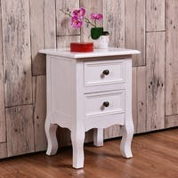 Costway White Curved Legs Accent Side End Table Nigh stand Furniture  W/2 Drawers