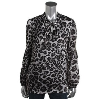 MICHAEL Michael Kors Womens Animal Print Long Sleeves Blouse - M