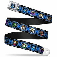 Megaman 8 Bit Stripes Full Color Black Blues Megaman 8 Bit Character Blocks Seatbelt Belt