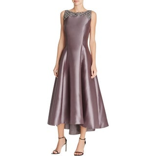 Carmen Marc Valvo Womens Cocktail Dress Beaded Neck Pleated