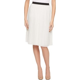 Tommy Hilfiger Womens Pleated Skirt Layered Pull On