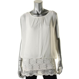 MSK Womens Lili Blouse Chiffon Sequined