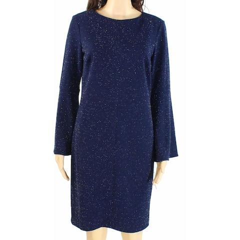 Lauren by Ralph Lauren Womens Dress Navy Blue Size 14 Shimmer Shift
