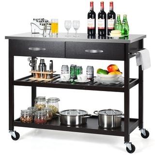 Costway Rolling Kitchen Island Trolley Cart Stainless Steel Countertop w/ Drawer & Shelf