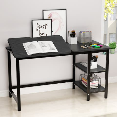 Computer Desk with Drafting Table, Tiltable Stand Board