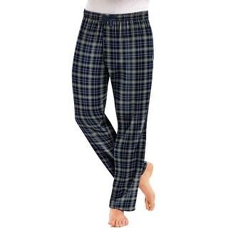 Hanes Men's Jersey Flannel Pants - Size - L - Color - Blue/Black Tartan