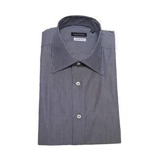 Valentino Men's Slim Fit Cotton Dress Shirt White Indigo Blue Pinstriped