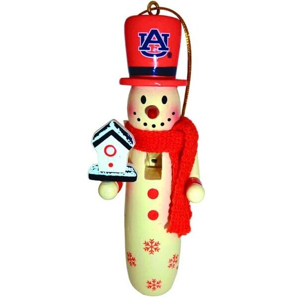 "Pack of 6 NCAA Auburn University Tigers Wooden Snowman Christmas Ornaments 6"" - ORANGE"