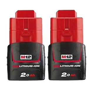Replacement 2000mAh Battery for Milwaukee 2314-21 / 2454-20 / M12 IR Power Tools (2 Pk)