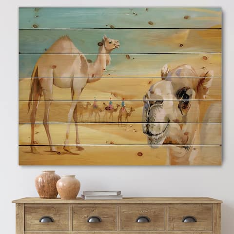 Designart 'Camels In The Desert' Farmhouse Print on Natural Pine Wood