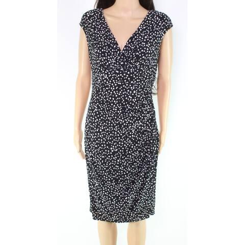 Lauren By Ralph Lauren Women's Dress Black Size 8 Sheath Surplice