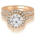1.17 cttw. 14K Rose Gold Halo Round Cut Diamond Bridal Set - Thumbnail 0