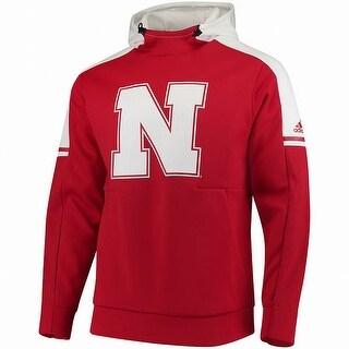 Adidas Red White Mens Large L Nebraska Cornhuskers Hooded Sweater