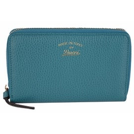 NEW Gucci Women's 354497 Teal Leather Trademark Logo Swing Zip Around Wallet