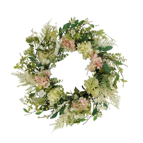 """24"""" Artificial Hydrangea and Dogwood Floral Spring Wreath"""