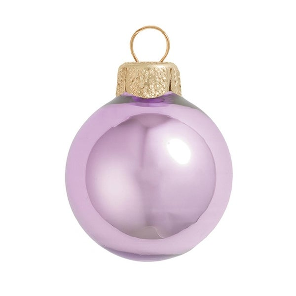 "8ct Pearl Soft Lavender Purple Glass Ball Christmas Ornaments 3.25"" (80mm)"