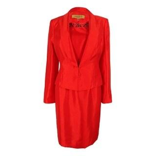 Kasper Women's Plus-Size 3-Button Dupioni Jacket Dress Suit - Flame